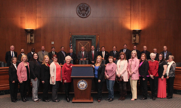 LFBF Membership Incentive Trip attendees pose for a group photo in the Dirksen Senate Office Building.