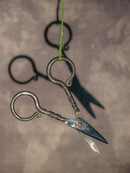 Suspended Steel Scissors with Shadow