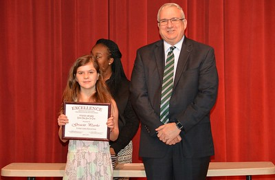 Gracis Parks accepts a 2017 STAND Award from DCSD Superintendent Dr. Eddie Ingram.