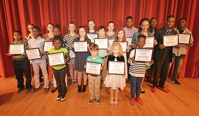 Darlington County School District's 2017 STAND Award winners gather for a photo following a recognition ceremony on April 7 at Hartsville Middle School.