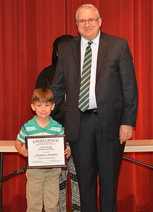 Jackson Andrews accepts a 2017 STAND Award from DCSD Superintendent Dr. Eddie Ingram.
