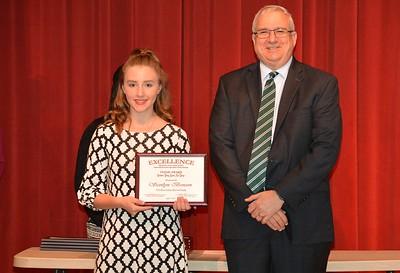 Scotlyn Benson accepts a 2017 STAND Award from DCSD Superintendent Dr. Eddie Ingram.