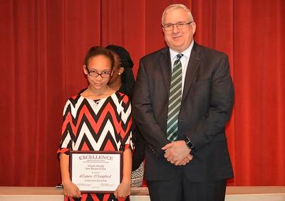 Laura Cranford accepts a 2017 STAND Award from DCSD Superintendent Dr. Eddie Ingram.