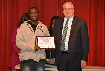 Shaikeem Freeman-Peterson accepts a 2017 STAND Award from DCSD Superintendent Dr. Eddie Ingram.