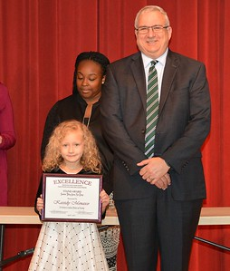 Kassidy Menasco accepts a 2017 STAND Award from DCSD Superintendent Dr. Eddie Ingram.