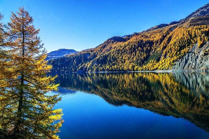 Goldener Oktober im Engadin - Marmorerasee