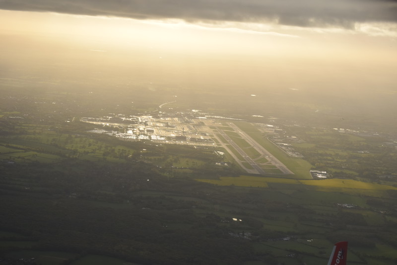 London Gatwick airport seen from my departing flight to Copenhagen.