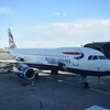British Airways Airbus A320 G-EUYR at Copenhagen airport on a flight to London Heathrow.