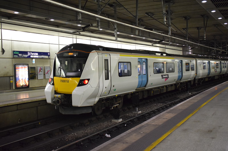 Thameslink Class 700 Desiro City no. 700018 at London St. Pancras on a Bedford service.