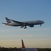 British Airways Boeing 777-200 G-VIIY landing at London Gatwick Airport.