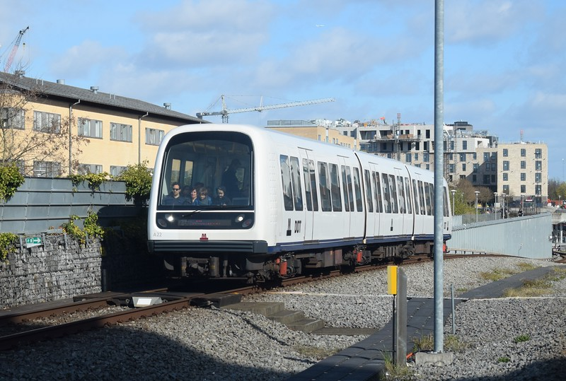 Copenhagen Metro AnsaldoBreda Driverless Metro train no. A22 at Kastrup on Line M2.