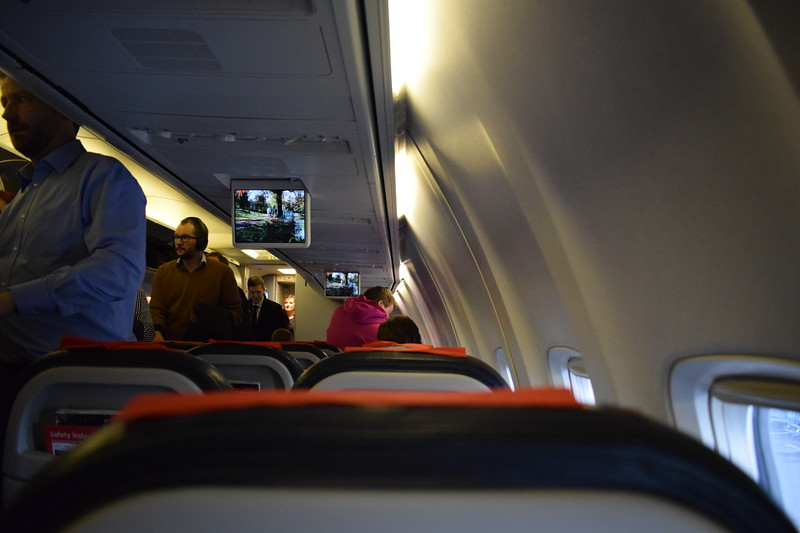Norwegian Air International Boeing 737-800 EI-FHP interior at Copenhagen Airport with my flight D82909 to London Gatwick.