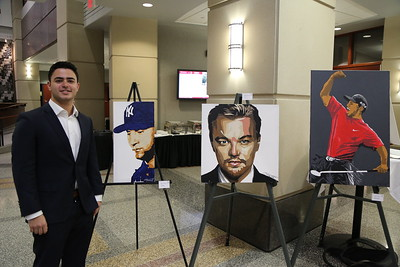 "Marc Schwartz with his artwork, (From Left to Right) ""The Captain"", ""Leo"", ""Augusta National."""