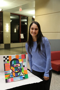 "Isabelle Gold with her work, ""The Life of Pablo""."