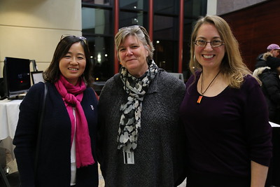 Guests at the 3rd Annual ART of the Wisconsin BBA Exhibition. (From Left to Right) Xiujuan Zhang, Bolz Center for Arts Administration Director Sherry Wagner-Henry, and Heather Owens.