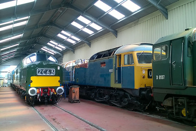 From left to right, 37215, 37248, 47105 and 20137 are pictured inside the Diesel Shed at Toddington (24/08/2017)