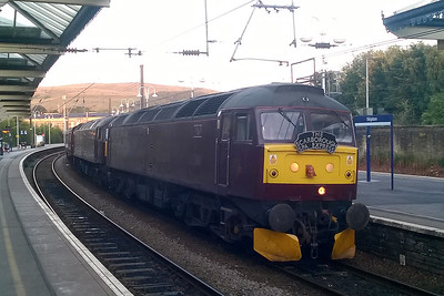 In the last of the daylight, 47245 + 47237 pause at Skipton with the 1Z23 1715 return leg of the Scarborough Spa Express to Carnforth. The duo had taken over from 'Galatea' at Holgate Sidings (10/08/2017)
