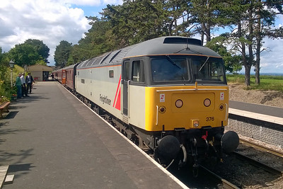 47376 awaits departure from Cheltenham Race Course with the 1205 to Toddington during a running day at the GWSR (15/08/2017)