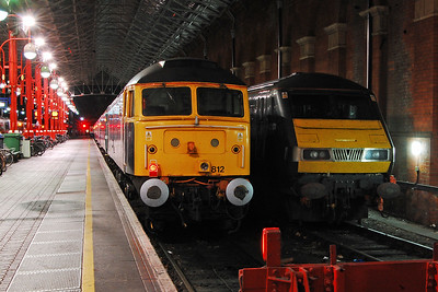 Later that evening 47812 is pictured beneath Marylebone's train shed alongside one of the more usual residents. The loco had arrived a couple of hours earlier at the head of the 1734 from Moor Street (26/08/2017)