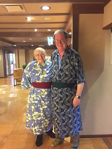 Dr. Frederick and Mrs. Grazina Pearson dressed in Yukata, traditional Japanese robes-Jessica Mathewson