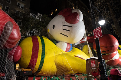 Hello Kitty at the inflating of the balloons Wednesday night before the parade.