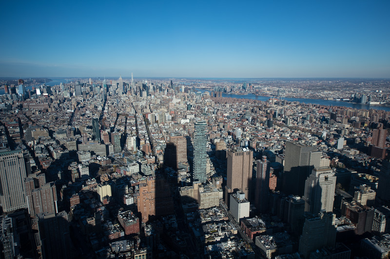 View of Manhattan from the top of the Freedom Tower.