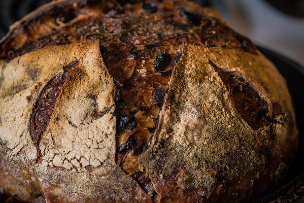 The finished product! My boule of Cranberry Pecan Sourdough bread!