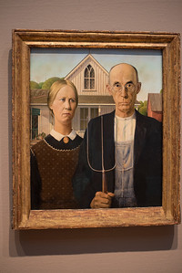American Gothic.  Little known fact.  This is painted on beaver board.  Yeah, we didn't know what it was either.  The Art Institute of Chicago has a very strong collection of paintings.  For a while there every room we entered had very famous painting by an artist we recognized--Hopper, Degas, Monet, Van Gogh, ...