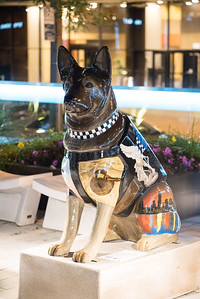 Here they had police dog statues all over town each painted with a unique motif.