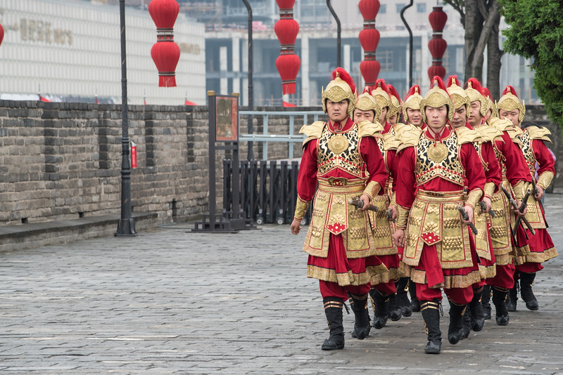 Soldiers on the Xian city wall.
