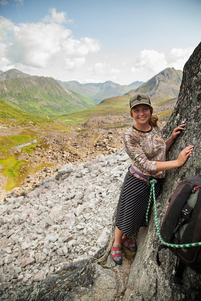Michelle Riley tries her hand at climbing outdoors for the first time on <i>Toto 5.7</i> in Archangel Valley.