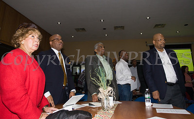 """Lillie Howard, Phillip Howard, Runston """"Pop"""" Lewis and Kevin White sing the Black National Anthem during the City of Newburgh Human Rights Commission sponsored Second Annual Black Pioneers of Newburgh at the Newburgh Free Library on Saturday, February 18, 2017. Hudson Valley Press/CHUCK STEWART, JR."""