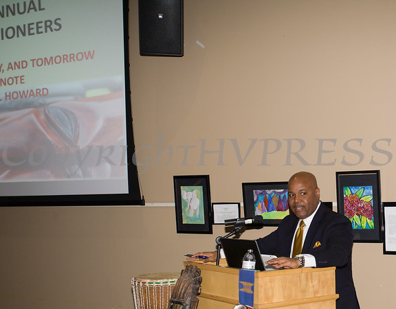 Keynote speaker Phillip Howard talks about the important role education plays, especially to Black children, during the City of Newburgh Human Rights Commission sponsored Second Annual Black Pioneers of Newburgh at the Newburgh Free Library on Saturday, February 18, 2017. Hudson Valley Press/CHUCK STEWART, JR.