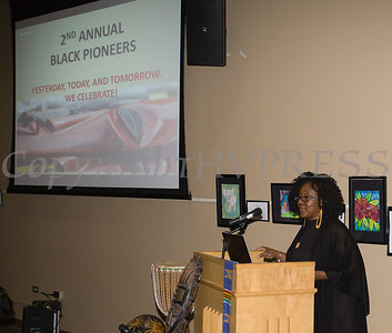 Malinda Ware introduces honoress during the City of Newburgh Human Rights Commission sponsored Second Annual Black Pioneers of Newburgh at the Newburgh Free Library on Saturday, February 18, 2017. Hudson Valley Press/CHUCK STEWART, JR.