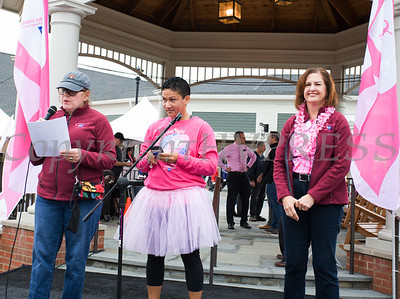 Joan Pagones and Sandra Iberger offer words of hope to thousands of people, including cancer survivors, their families and businesses, who participated in the annual American Cancer Society Making Strides Against Breast Cancer walk at Woodbury Common Premium Outlets in Central Valley, NY on Sunday, October 15, 2017. Hudson Valley Press/CHUCK STEWART, JR.