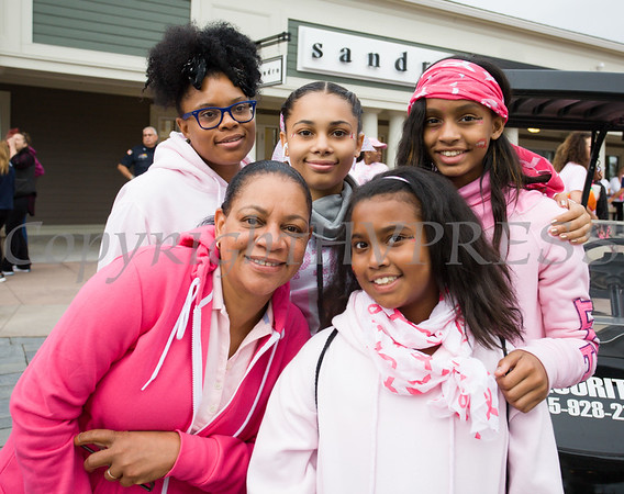 A group walks in memory of Maureen Flippin, as thousands of people, including cancer survivors, their families and businesses, participated in the annual American Cancer Society Making Strides Against Breast Cancer walk at Woodbury Common Premium Outlets in Central Valley, NY on Sunday, October 15, 2017. Hudson Valley Press/CHUCK STEWART, JR.
