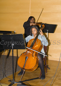 Cellist Aizia Rynea Smith and Violinist Brianna Nicole Spencer accompany the Bishop Joseph P. Thompson Anthem Choir of AME Zion Church of Newburgh performs at Choral Sunday, sponsored by SUNY Orange in Newburgh, NY on Sunday, May 7, 2017. Hudson Valley Press/CHUCK STEWART, JR.