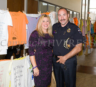 Safe Homes of Orange County Executive Director Kellyann Kostyal-Larrier and Chief Dominick Blasko, Town of Crawford Police Department, representing the Police Chiefs' Association of Orange County pose for a phot as Safe Homes of Orange County kicked off Domestic Violence Awareness Month in Newburgh, NY on Monday, October 2, 2017. Hudson Valley Press/CHUCK STEWART, JR.