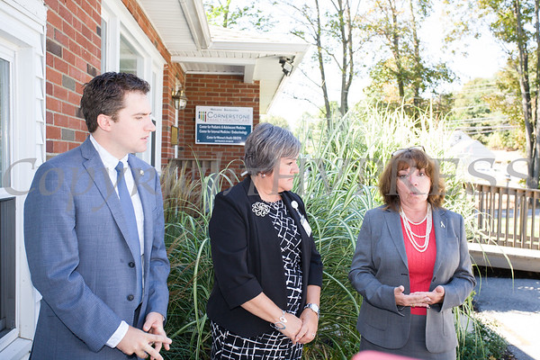 New York State Assemblyman James Skoufis, Cornerstone Family Healthcare President & CEO Linda Muller and President of the Orange County Chamber of Commerce Lynn Cione announce the completion of renovations and upgrades to Cornerstone's New Windsor facility on Wednesday, September 27, 2017. Hudson Valley Press/CHUCK STEWART, JR.