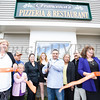 Owner Manny Marzeza, center, prepares to cut the ribbon to celebrate the grand opening of Francesca's Pizzeria & Restaurant in Montgomery on October 16, 2017. Hudson Valley Press/CHUCK STEWART, JR.