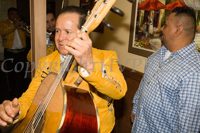 Owner Manny Marzeza, right, welcomes Mariachi Viva Mexico to celebrate the grand opening of Francesca's Pizzeria & Restaurant in Montgomery on October 16, 2017. Hudson Valley Press/CHUCK STEWART, JR.
