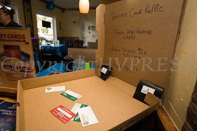 A business card raffle for a gift card was set up as part of the ribbon cutting ceremony to celebrate the grand opening of Francesca's Pizzeria & Restaurant in Montgomery on October 16, 2017. Hudson Valley Press/CHUCK STEWART, JR.