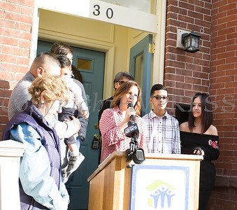 Habitat for Humanity of Greater Newburgh new homeowner Viridiana offers remarks as Habitat dedicated its 90th home on Friday, December 1, 2017. Hudson Valley Press/CHUCK STEWART, JR.