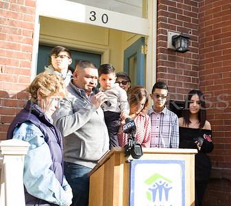Habitat for Humanity of Greater Newburgh new homeowner Juan offers remarks as Habitat dedicated its 90th home on Friday, December 1, 2017. Hudson Valley Press/CHUCK STEWART, JR.