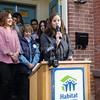 Habitat Newburgh Board of Directors Treasurer Martine Najork offers remarks as Habitat for Humanity of Greater Newburgh dedicated its 90th home on Friday, December 1, 2017. Hudson Valley Press/CHUCK STEWART, JR.
