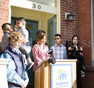 Habitat for Humanity of Greater Newburgh new homeowner Jennifer offers remarks as Habitat dedicated its 90th home on Friday, December 1, 2017. Hudson Valley Press/CHUCK STEWART, JR.