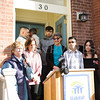 Family Advocate Volunteer Karen Adamson offers reflections as Habitat for Humanity of Greater Newburgh dedicated its 90th home on Friday, December 1, 2017. Hudson Valley Press/CHUCK STEWART, JR.
