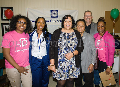 Denzenai, Dr. Nicole Williams, Natasha Cherry, Anne Perry, Mr. Major and Lanna Williams-Scott at the Poughkeepsie Healthy Black and Latino Coalition celebrated Black History Month with a Healthy Living Expo at the Catherine Street Community Center in Poughkeepsie, NY on Saturday, February 25, 2017. Hudson Valley Press/CHUCK STEWART, JR.
