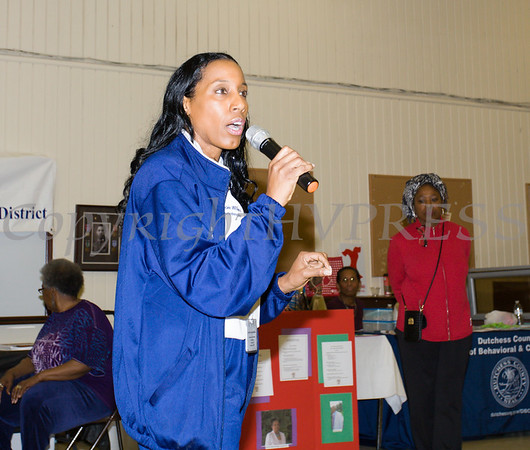 Poughkeepsie City School District Superintendent Dr. Nicole Williams offers remarks as the Poughkeepsie Healthy Black and Latino Coalition celebrated Black History Month with a Healthy Living Expo at the Catherine Street Community Center in Poughkeepsie, NY on Saturday, February 25, 2017. Hudson Valley Press/CHUCK STEWART, JR.