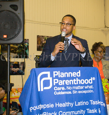 Keynote Speaker Weldon Mc Williams offers remarks as the Poughkeepsie Healthy Black and Latino Coalition celebrated Black History Month with a Healthy Living Expo at the Catherine Street Community Center in Poughkeepsie, NY on Saturday, February 25, 2017. Hudson Valley Press/CHUCK STEWART, JR.